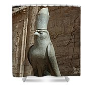 Horus The Falcon At Edfu Shower Curtain by Bob Christopher