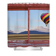 Hot Air Balloon And Longs Peak Red Rustic Picture Window View Shower Curtain