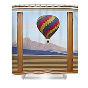 Hot Air Balloon Colorado Wood Picture Window Frame Photo Art Vie Shower Curtain