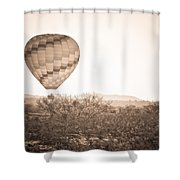 Hot Air Balloon On The Arizona Sonoran Desert In Bw  Shower Curtain