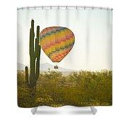 Hot Air Balloon Over The Arizona Desert With Giant Saguaro Cactu Shower Curtain