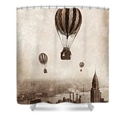 Hot Air Balloons Over 1949 New York City Shower Curtain