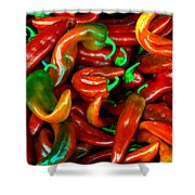 Hot Peppers Shower Curtain by Robert Bales