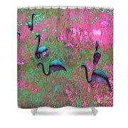 Hot Pink Flamingos Garden Abstract Art  Shower Curtain