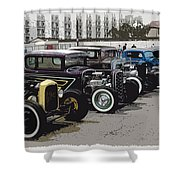 Hot Rod Row Shower Curtain