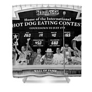 Hotdog Eating Contest Time In Black And White Shower Curtain
