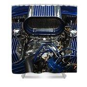 Hotrod Engine In Blue Shower Curtain