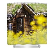 House Behind Yellow Flowers Shower Curtain