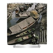 Houseboats Line A Waterway Shower Curtain