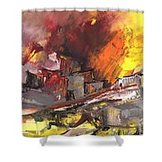 Houses In Fire Shower Curtain