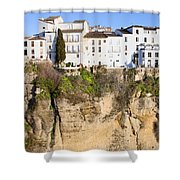 Houses On A Cliff In Ronda Town Shower Curtain