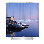 Houses On The Coastline With Icebergs Shower Curtain
