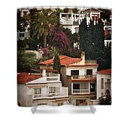 Houses On The Hill Nerja Shower Curtain by Mary Machare