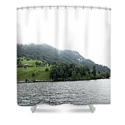 Houses On The Slope Of A Mountain Next To Lake Lucerne Shower Curtain