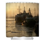 Huddled Boats Shower Curtain