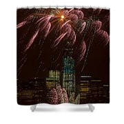 Hudson River Fireworks X Shower Curtain by Clarence Holmes