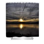 Hudson River Sunset Shower Curtain