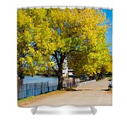 Hudson Riverside Autumn Scenery In Troy  New York Shower Curtain