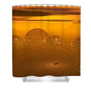 Human Settlement On Alien Planet Shower Curtain