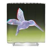 Hummingbird - Use Red-cyan 3d Glasses Shower Curtain