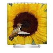 Hummingbird On Sunflower Shower Curtain