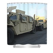 Humvees Sit On The Pier At Morehead Shower Curtain
