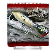 Husband Anniversary Card - Saltwater Fishing Lure - Popper Shower Curtain