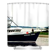 Hyannis Lighthouse And Fishing Boat Shower Curtain