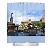 Hyde Park Fountain And St. Mary's Cathedral Shower Curtain