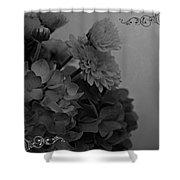 Hydrangea Boquet Black And White Shower Curtain