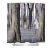 Girl Walking In The Park Shower Curtain