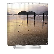 Ice On A Lake In Sunset Shower Curtain