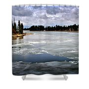 Ice On The Yellowstone River Shower Curtain