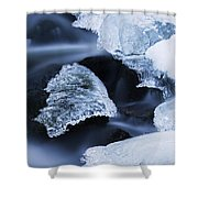 Ice Patches In Stream, Bavarian Forest Shower Curtain