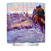Icelandic Horse Trail Ride Shower Curtain
