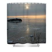 Icey Shore Black Beach Shower Curtain