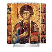 Icon Of Saint Pantaleon Shower Curtain by Science Source