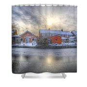 Icy River Panorama Shower Curtain