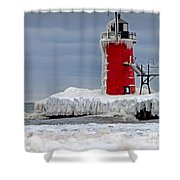 Icy South Haven Mi Lighthouse Shower Curtain