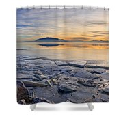 Icy Sunset On Utah Lake Shower Curtain