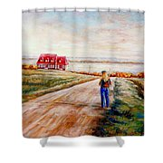 Ile D'orleans Road To The Red Gabled House Quebec Maritime Landscape Shower Curtain