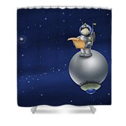 Illustration Of A Cartoon Astronaut Shower Curtain