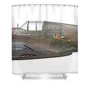 Illustration Of A Curtiss P40-c Warhawk Shower Curtain
