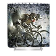 Illustration Of Cyclists Shower Curtain