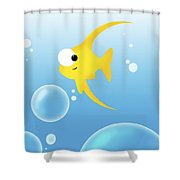 Illustration Of Fish And Bubbles Shower Curtain