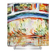 Impressions On Monet Painting Of Pond With Waterlilies  Shower Curtain