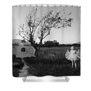 In My Dreams I Am A Little Girl Bw Shower Curtain