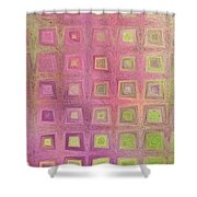 In The Pink With Squarish Squares  Shower Curtain