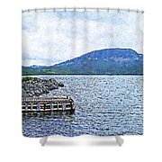 In The Shelter Of The Blue Cliff Shower Curtain