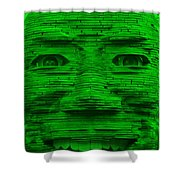 In Your Face In Green Shower Curtain